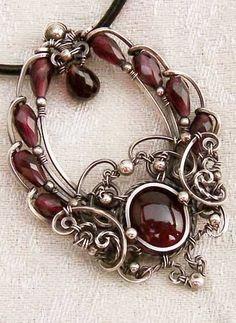 Silver Garnet Pendant by *Wiresculptress
