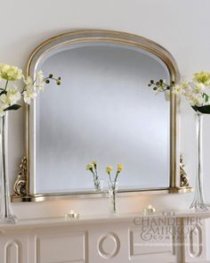 Christchurch - Champagne Silver Overmantle Mirror. Made in the UK.