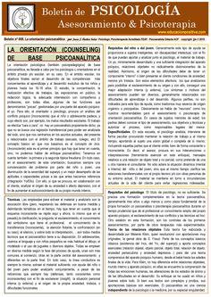 Psychoanalytically oriented advice (spanish), by Juan J. Ibáñez Solar Full psychology newsletter on www.educacionpositiva.com  Asesoramiento de orientación psicoanalítica, por Juan J. Ibáñez Solar