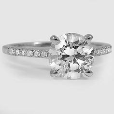 18K White Gold Sonora Diamond Ring // Set with a 1.82 Carat, Round, Ideal Cut, J Color, SI2 Clarity Diamond