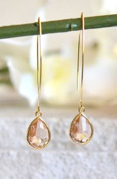 Simple Champagne Drop Earrings