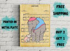 Dumbo Baby Mine Music Art Metal Print-Disney Gifts-Nursery Baby Mine, Disney Art, Elephants, Nursery, Handmade Gifts, Metal, Music, Prints, Poster