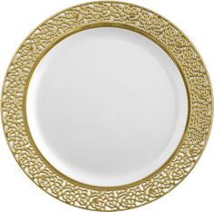 """Posh Party Supplies - 9"""" Lace White with Gold Plastic Lunch/Dinner Plates - 10 Plates, $8.49 (http://www.poshpartysupplies.com/posh-products/elegant-plastic-wedding-and-paper-plates/9-lace-white-with-gold-plastic-lunch-dinner-plates-10-plates/)"""