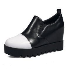 FANIMILA Wedages Mulheres Bombas de Plataforma Sapatos de Salto Alto Rodada  Toe Altura Crescente Lazer Estilo d2d63d763da