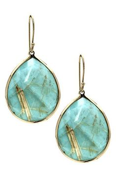 Yellow gold and turquoise teardrop earrings.