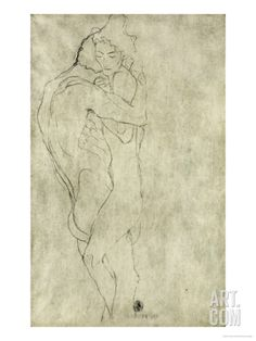 Lovers, Black Crayon (1908) Stretched Canvas Print by Gustav Klimt at Art.com