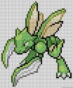 Skyther Pokemon perler bead pattern