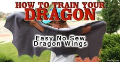 Easy DIY no sew dragon wings will transform any How to Train You Dragon fan into their dragon of choice. Perfect for a dragon party or easy dragon costume.