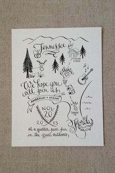 map invite for a nature or camping-themed wedding.