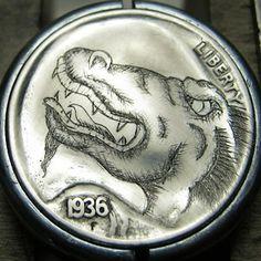 CHRISTOPHER STINNETT HOBO NICKEL - DRAGON - 1936 BUFFALO NICKEL Hobo Nickel, Treasure Hunting, Rare Coins, Coin Collecting, Metal Art, Paper Cutting, Dragons, Buffalo, Cactus