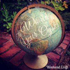 Love to explore? Show your love for adventures with these 15 DIY map crafts — just in time for Columbus Day! / The World is Your Oyster Globe Diy Crafts To Do At Home, Weekend Crafts, Map Crafts, Cute Crafts, Globe Crafts, Diy Craft Projects, Craft Ideas, Diy Vintage, Vintage Market