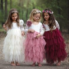 White Lace and Pink Tulle Lovely Flower Girl Dresses - Promfy Fall Flower Girl, White Flower Girl Dresses, Wedding Flower Girl Dresses, Little Girl Dresses, Girls Party Dresses, Childrens Bridesmaid Dresses, Bohemian Flower Girl Dress, Kids Bridesmaid Dress, Vintage Flower Girls