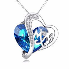 GNX13854 925 Sterling Silver Charming Necklace Blue Heart Crystal Romantic Pendants Necklaces Fashion Luxury Jewelry For Women #Affiliate