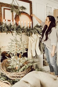 Liz Marie styles her first space with cozy christmas decor. Check out where she always starts and why, and how her new spaces turned out. Christmas Mantels, Cozy Christmas, Beautiful Christmas, White Christmas, Vintage Christmas, Christmas Holidays, Christmas Decorations, Victorian Christmas, Vintage Santas