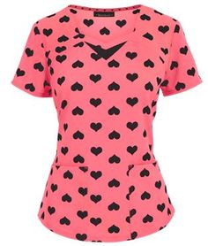 HeartSoul Scrubs Heart 2 Forget U Coral Cove Print Top  ............Follow Best Nursing Uniforms:   https://www.pinterest.com/medicalcareer/best-nursing-uniforms/