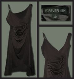 Forever New Silver Drape Dress with plated strap.  Size: 8   Price: $20 Forever New, Draped Dress, Formal Prom, Silver, Black, Dresses, Fashion, Vestidos, Moda