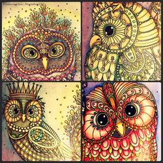 Close up of my Owls from Hanna Karlzon's Summer Night Coloring Book