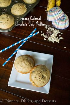 Banana Oatmeal Chocolate Chip Muffins - gluten free muffins made in the blender! So easy, healthy, and yummy! No butter, oil, or flour!
