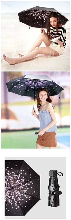 Windproof UV Sun Rain Protection Triple Folding Compact Umbrella UPF50 For Women for Girls Bagail.com