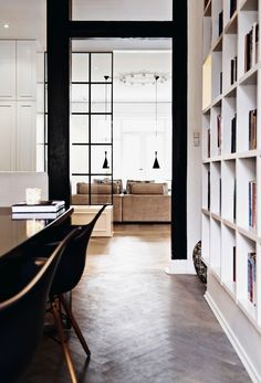 wood floors, tall shelves