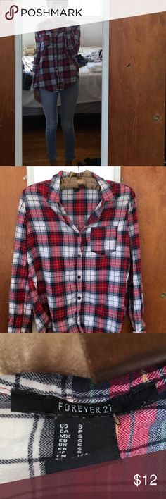 forever 21 red/white/green flannel red/white/green flannel that i purchased from forever 21. size small. worn once. no stains/rips. features side pocket on chest. i'd say oversized length, but it fits as a size small would normally fit. very cute and warm. Forever 21 Tops Button Down Shirts