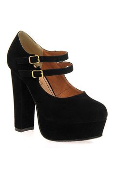 Buckles Black Platform Shoes    $137.99  romwe.com
