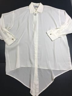 NEW YORK STYLE  SHEER CREAM SINGLE BUTTON LONG SLEEVE BLOUSE TOP Size S #1036 #NewYorkStyle #Blouse