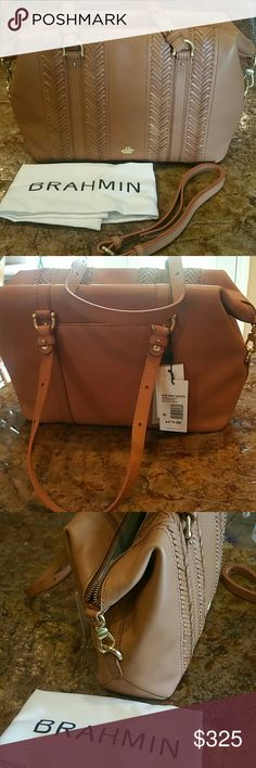 NWT BRAHMIN Delany Satchel Tan Knoxville Genuine The Delaney Satchel is unique to the Southcoast collection and can be worn in multiple ways. This versatile style can be held by its top handles or a long strap that can be worn as a shoulder or crossbody bag.  •Made of genuine leather with woven detail •Zipper closure •Dual carrying handles with detachable, adjustable •shoulder strap •Exterior back slip pocket •Signature logo hardware detail in front •Lined interior •Interior front and…