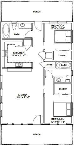 2 Bedroom House Plans, Cabin House Plans, Cabin Floor Plans, Tiny House 2 Bedroom, 2 Bedroom House Design, 30x40 House Plans, Cottage Floor Plans, The Plan, How To Plan