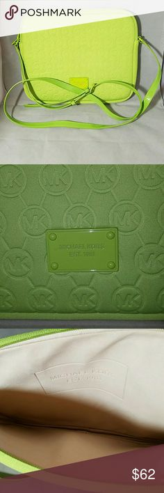 "MICHAEL KORS Lime Green Ipad, Notebook Case Brand: Michael Kors  Item: *Lime Green Ipad, Notebook, Netbook, Kindle Crossbody Carrying Case *Cream Suede Insulated for Protection Lining *Dual Zippers *Lime Metal Plate with Brand *Patent Lime Cross Body Strap *Authentic, Genuine  Color: Lime Green  Measurements: 10.5""w x 8.5""h x 1""d.  Drop is 23.5""  Materials: Neoprene  Condition: NWOT, Never Used Michael Kors Bags Crossbody Bags"