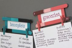 """DIY """"Honeydew"""" or Grocery list holder fridge magnet. Popsicle stick craft tutorial! Also great as photo frames or name plates! #craft #diy #upcycle"""