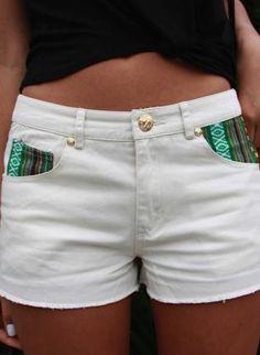 White Shorts - White Denim Shorts with Tribal