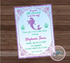 Printable mermaid baby shower invitations shabby chic little mermaid little mermaid baby shower invitation the by angelstouchpartyshop filmwisefo