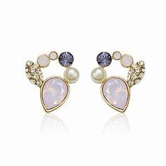 Personalized Swarovski Element Pink Crystal Stud Women Cheap Earrings DC28E3333 $7