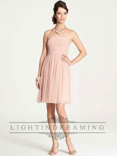 Point D'Esprit Strapless Knee Length Bridesmaid Dresses