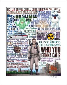 """""""Who You Gonna Call"""" – Ghostbusters Austin, Texas-based illustrator Chet Phillips released a new series of prints that pay tribute to famous films with plenty of with ghosts, mons… Ghostbusters Quotes, Ghostbusters Party, The Real Ghostbusters, 80s Movies, Great Movies, Movie Tv, Cult Movies, Cultura Pop, Totoro"""