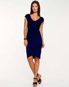 Spliced Stripe Fitted Dress - A spliced stripe pattern brings a dynamic appeal to this fitted dress.