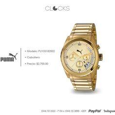 Reloj Puma para caballero a solo $2,700  #SoloEnClocks #Gold  http://instagram.com/clocksrelojes https://www.facebook.com/clocksrelojes https://twitter.com/ClocksRelojes