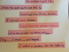 Math Discussion Sentence Starters