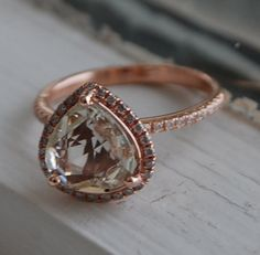 2.2ct Heart champagne sapphire 14k rose gold pear diamond ring engagement ring