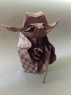 Origami Jedi Master Yoda Designed by Origami Yoda, Paper Folding, My Works, Starwars, Simple, Crafts, Design, Miniatures, Paper
