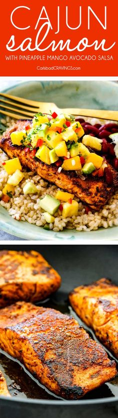 Cajun Salmon with Pineapple, Mango, Avocado Salsa is deceptively healthy, packed with flavor, easy to make, bursting with fresh ingredients and restaurant quality delicious! via @carlsbadcraving