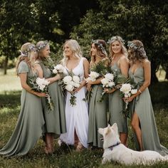 Laurel green bridesmaid dresses long You are in the right place about country wedding Here we offer you the most beautiful pictures about the country wedding you are looking for. When you examine the Laurel green bridesmaid dresses long part of the[. Sage Bridesmaid Dresses, Wedding Bridesmaids, Green Bridesmaids, Different Colour Bridesmaid Dresses, Country Wedding Dresses, Wedding Country, Country Weddings, Wedding Wishes, Bridesmaids
