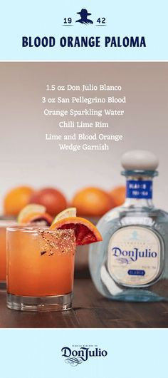 Two simple ingredients, one impressive drink. Prep rocks glass rim with chilli lime salt and then add ice. Add oz Don Julio Blanco, and top with 3 oz San Pellegrino Blood Orange Sparkling Water. Garnish with blood orange and lime wedges. Cocktails Bar, Bar Drinks, Cocktail Drinks, Cocktail Recipes, Alcoholic Drinks, Beverages, San Pellegrino, Mixed Drinks Alcohol, Alcohol Drink Recipes