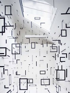 Geometric Rooms, by Italian artist Esther Stocker_ She creates stunning geometric environments that can often be explored by the viewer, in unusual linear patterns and planes that transform the space _ Esther Stocker, Graffiti, Graphisches Design, Artistic Installation, Tape Installation, Contemporary Abstract Art, Exhibition Space, Exhibition Ideas, Art Photography