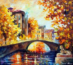 Fall River Bridge Painting by Leonid Afremov - Fall River Bridge Fine Art Prints and Posters for Sale Bridge Painting, Abstract Nature, Traditional Paintings, Sale Poster, Oil Painting On Canvas, Landscape Art, Art Pictures, Fine Art Prints, Fall River