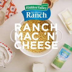 No-bake Ranch Mac 'n' Cheese New Recipes, Cooking Recipes, Favorite Recipes, Pasta Dishes, Food Dishes, Side Dishes, Macaroni Cheese Recipes, Ranch Recipe, Ranch Seasoning