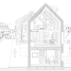 gosplan architects - architecture is a mass medium Section Drawing Architecture, Architecture Concept Diagram, Architect Drawing, Architecture Collage, Architecture Graphics, Education Architecture, Architecture Visualization, Architecture Portfolio, Architecture Details