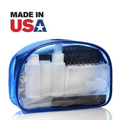 Travel Bottle Set TSA Approved Toiletry Cosmetic Bag Travel Kit with Plastic Leak Proof Empty Refillable Containers Soab Box and Toothbrush Holder Hair Brush And Nail accessories * You can get additional details at the image link. Note:It is Affiliate Link to Amazon.