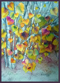 Watercolor. 3-D effect, cut out leaves and layered on top of painting.